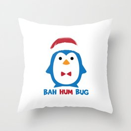 Bah Hum Bug Penguin Santa Hat Anti Xmas Scrooge Hate Cool Humor Pun Gift Design Throw Pillow