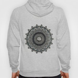 Black and White Flower Mandala with Blue Jewels Hoody