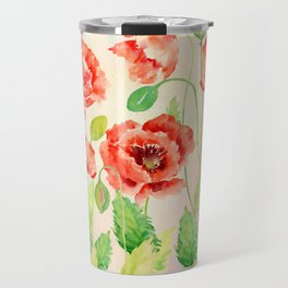 Watercolor Red Oriental Poppies Travel Mug