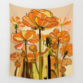 70s, Orange California poppies, mid century, 70s retro, flowers Wall Tapestry