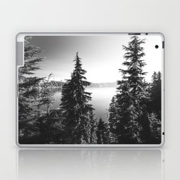 Mountain Lake Forest Black and White Nature Photography Laptop & iPad Skin