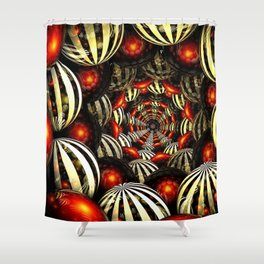 Reflective Rubies & Licorice Stripes Shower Curtain