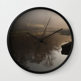 Foggy Morning in the Forest Wall Clock