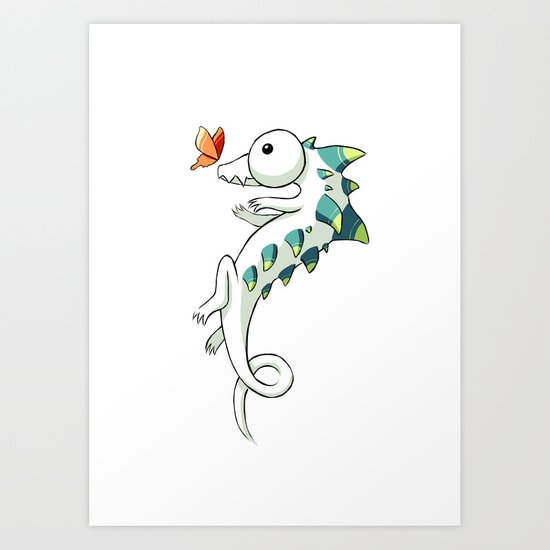 Crocodile and a Butterfly Art Print