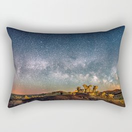 Panorama Bisti Badlands Hoodoos Under New Mexico Starry Night by OLena Art Rectangular Pillow