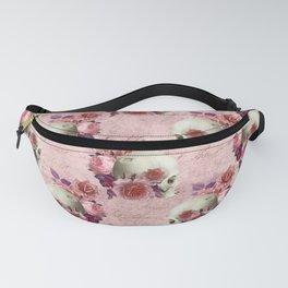 Pastel Goth pink floral skulls Fanny Pack