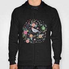 Pattern with beautiful bird in flowers Hoody