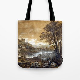 Francesco Zuccarelli A Landscape with Shepherds Resting Under a Tree by a Cascade Tote Bag