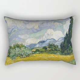 Wheat Field with Cypresses Rectangular Pillow