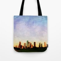 houston Tote Bags featuring Houston Skyline by Tracy Carlson Photography
