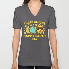Moon Earth Sun Three Amigos Happy Earth Day print Unisex V-Neck