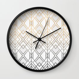 Gold And Grey Geo Wall Clock