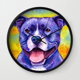 Peppy Purple Pitbull Terrier Colorful Dog Wall Clock