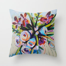 Clothed - Purple Bouquet Throw Pillow