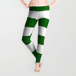 Emerald green - solid color - white stripes pattern Leggings