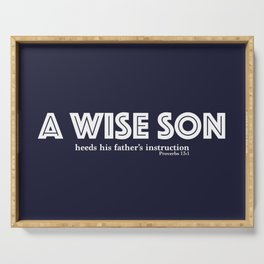 A wise son Blue/White Serving Tray