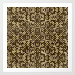 Chinese Pattern Double Happiness Symbol Gold on Wood Art Print