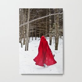 Little Red Riding Hood Runs Through The Woods In Winter Metal Print
