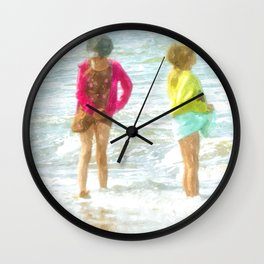 Wading In The Ocean Wall Clock