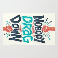 risa rodil Area & Throw Rugs featuring Nobody can drag me down by Risa Rodil