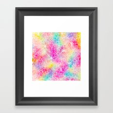 Bright neon pink turquoise purple yellow watercolor white floral illustration pattern Framed Art Print