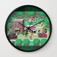earthbound Wall Clocks featuring Earthbound town by likelikes