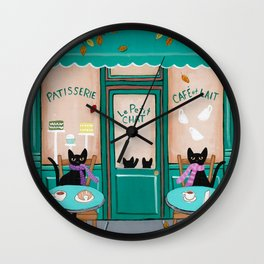 Paris Cafe for Cats Wall Clock