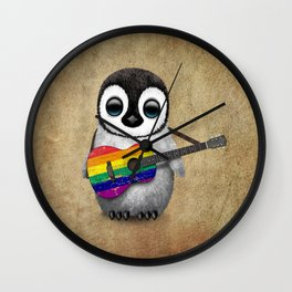 Baby Penguin Playing Gay Pride Rainbow Flag Guitar Wall Clock