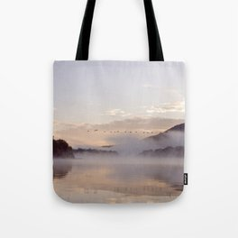 Into the Mists of Dawn: Sunrise on Lake George Tote Bag