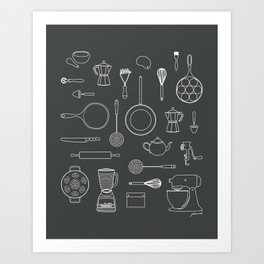 kitchen tools (white on black) Art Print