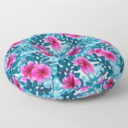 Tropical Hibiscus Pattern Pink Floor Pillow