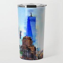 World Trade Watercolor Travel Mug