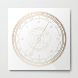 Gold Compass on White Metal Print
