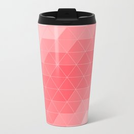 Coral Red Triangles Metal Travel Mug