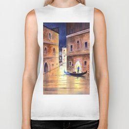 Venice Italy Evening Gondola Ride Biker Tank