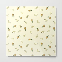 Pineapple & Banana Metal Print