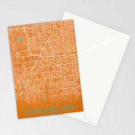 Overland Park, KS, USA, Gold, Blue, City, Map Stationery Cards