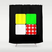 tour de france Shower Curtains featuring Tour de France Jerseys 3 Black by The Learning Curve Photography