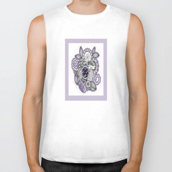 Pretty in Purple Zentangle Design Illustration Biker Tank