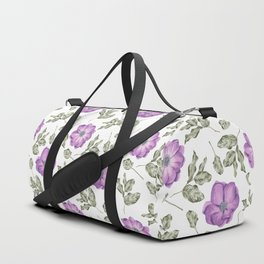Lavender pastel green hand painted floral leaves pattern Duffle Bag