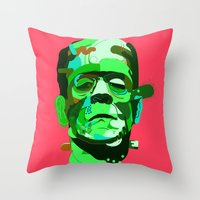 frank Throw Pillows featuring Frank. by Huxley Chin