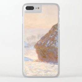 Wheatstacks, Snow Effect, Morning by Monet Clear iPhone Case