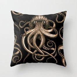 Bronze Kraken Throw Pillow