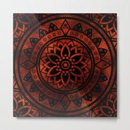 Burnt Orange & Black Patterned Flower Mandala Metal Print