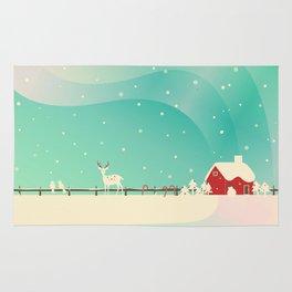 Peaceful Snowy Christmas (Teal) Rug