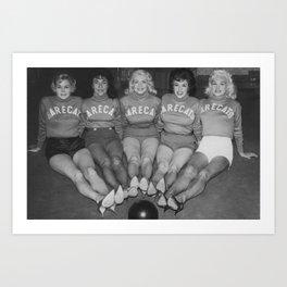 """""""Barecat Bowlers"""" c.1964 Art Print"""