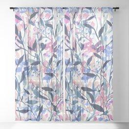 Wandering Wildflowers Blue Sheer Curtain