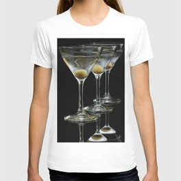 Three Martini's and three olives.  T-shirt