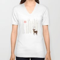 wood V-neck T-shirts featuring Reindeer of the Silver Wood by Poppy & Red
