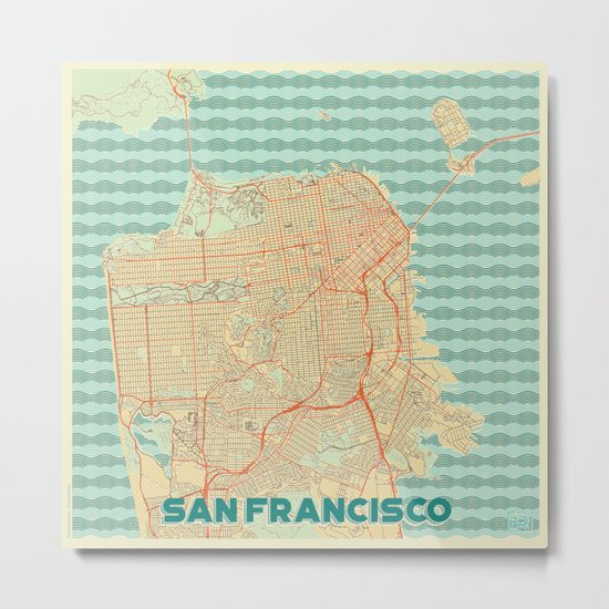 San Francisco Map Retro Metal Print